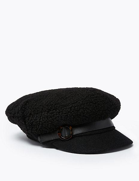 Faux Shearling Captain's Baseball Cap