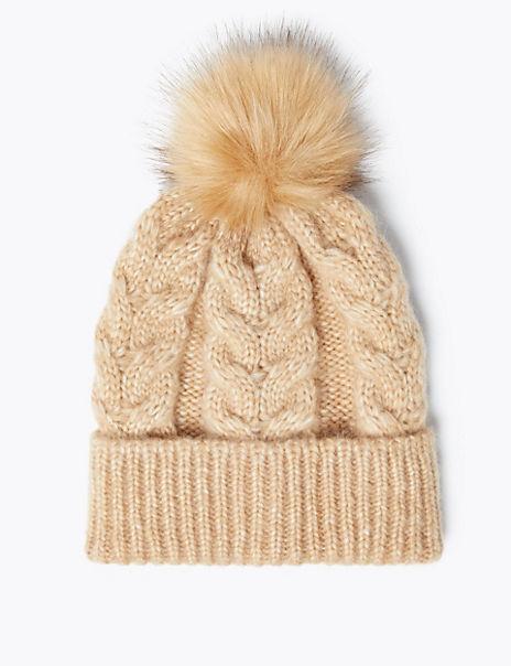 Cable Knit Pom-Pom Beanie Hat