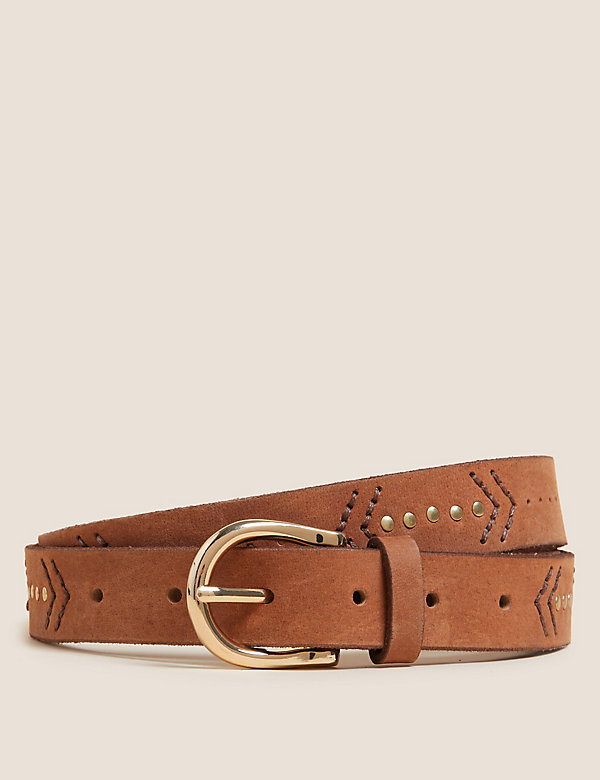 Leather Embroidered Jean Belt