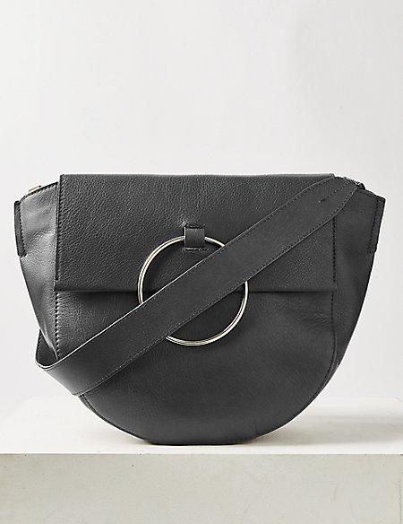 47c347852ceb7 Leather Ring Detail Shoulder Bag