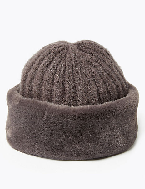 Knitted Faux Fur Trim Cossack Hat