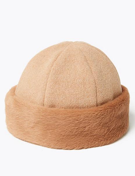 Faux Fur Trim Cossack Hat