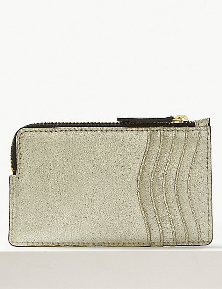 Leather Metallic Zip Detail Coin Purse