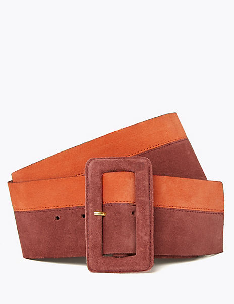 Leather Colour Block Waist Belt