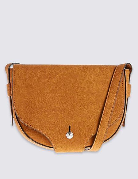Faux Leather Stud Saddle Across Body Bag