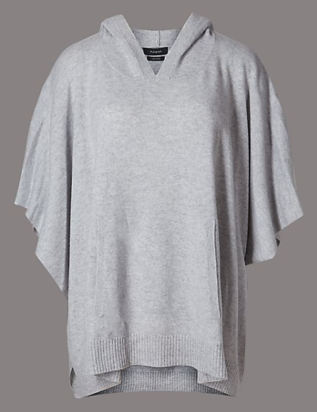 Pure Cashmere Hooded Poncho