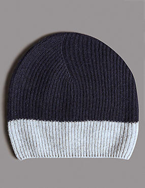 Pure Cashmere Colour Block Beanie Hat