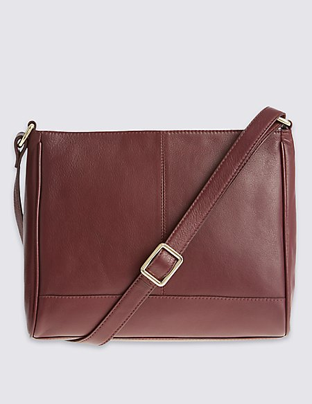 Leather Zip Detail Across Body Bag