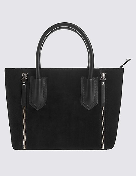 Leather and Suede Mix Double Zip Bag