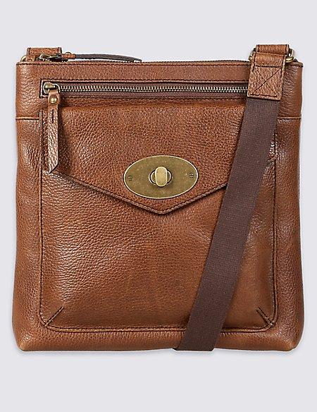 Leather Turn-Lock Messenger Bag