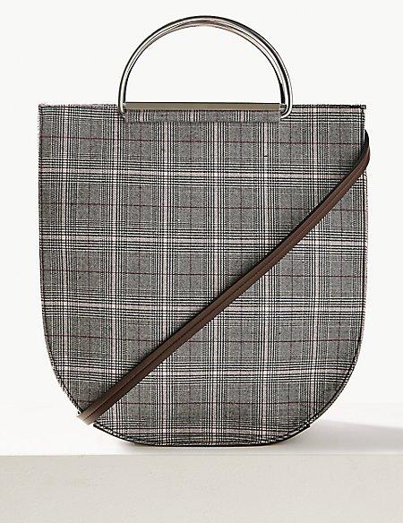 Checked Metal Handle Tote Bag