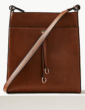 Faux Leather Ring Detail Messenger Bag