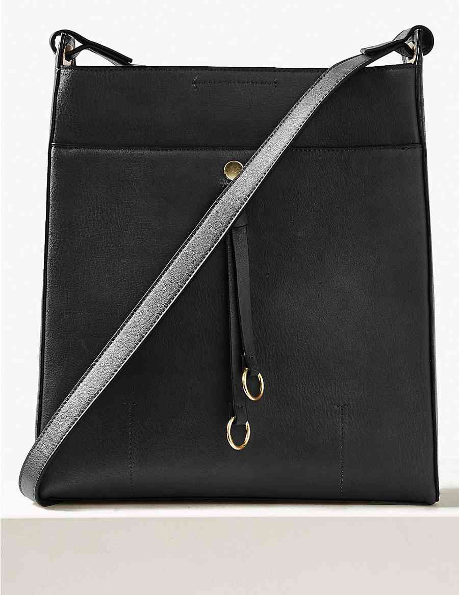 88fc9d49d1 Faux Leather Ring Detail Messenger Bag