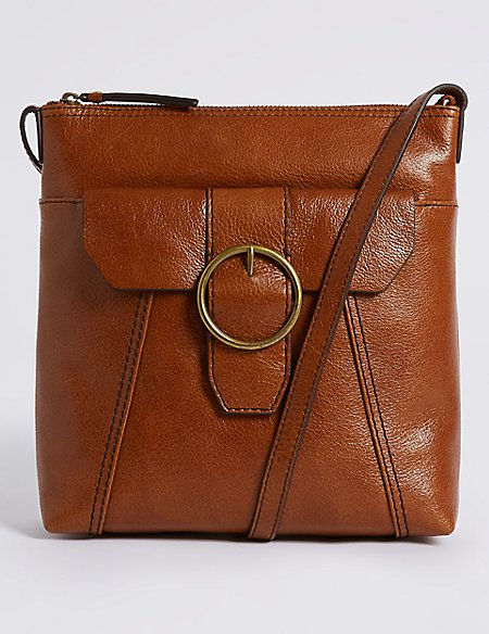 3f558a5cdda5 Product images. Skip Carousel. Leather Round Buckle Cross Body Bag