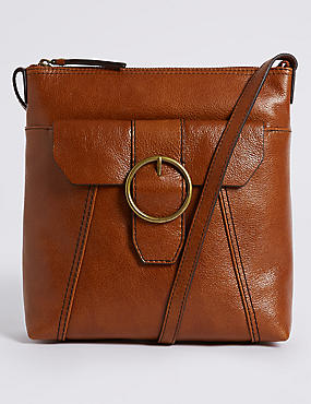 Leather Round Buckle Cross Body Bag