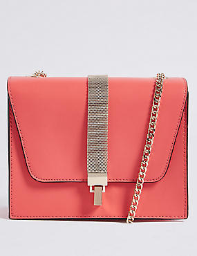 Faux Leather Chain Boxy Cross Body Bag M S Collection