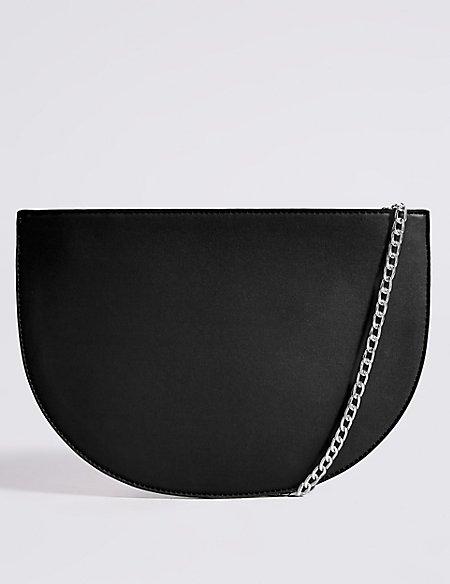 Faux Leather Half Moon Shoulder Bag