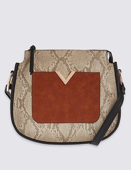 Faux Leather Zip Top Across Body Bag