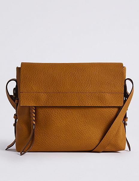 Faux Leather Grainy Messenger Bag