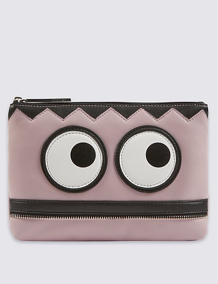Face Print Zipped Clutch Bag