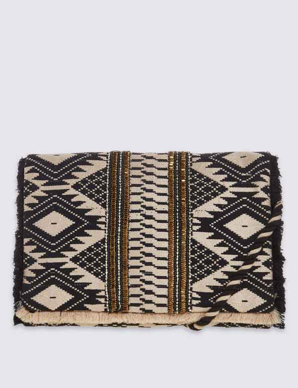 ff62c8e2c70e Aztec Print Hand Embellished Clutch Bag with Strap
