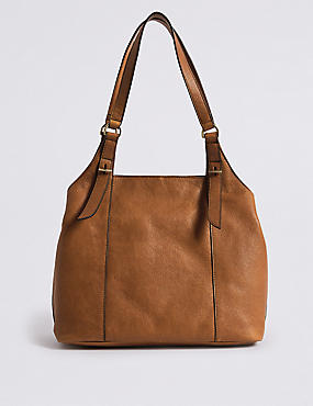 Leather 3 Compartment Hobo Bag