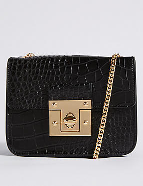 Twist Lock Boxy Cross Body Bag