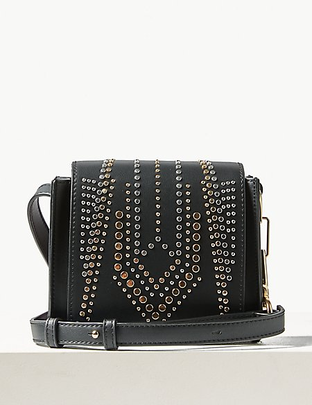 Faux Leather Studded Cross Body Bag