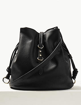 Faux Leather Bucket Cross Body Bag