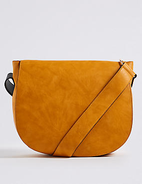 Faux Leather Saddle Shoulder Bag
