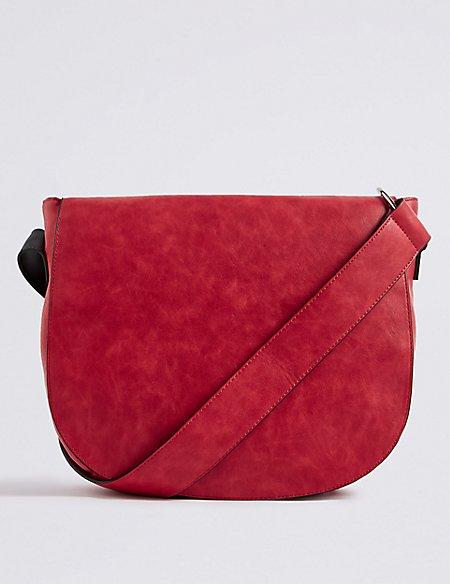 Faux Leather Saddle Shoulder Bag
