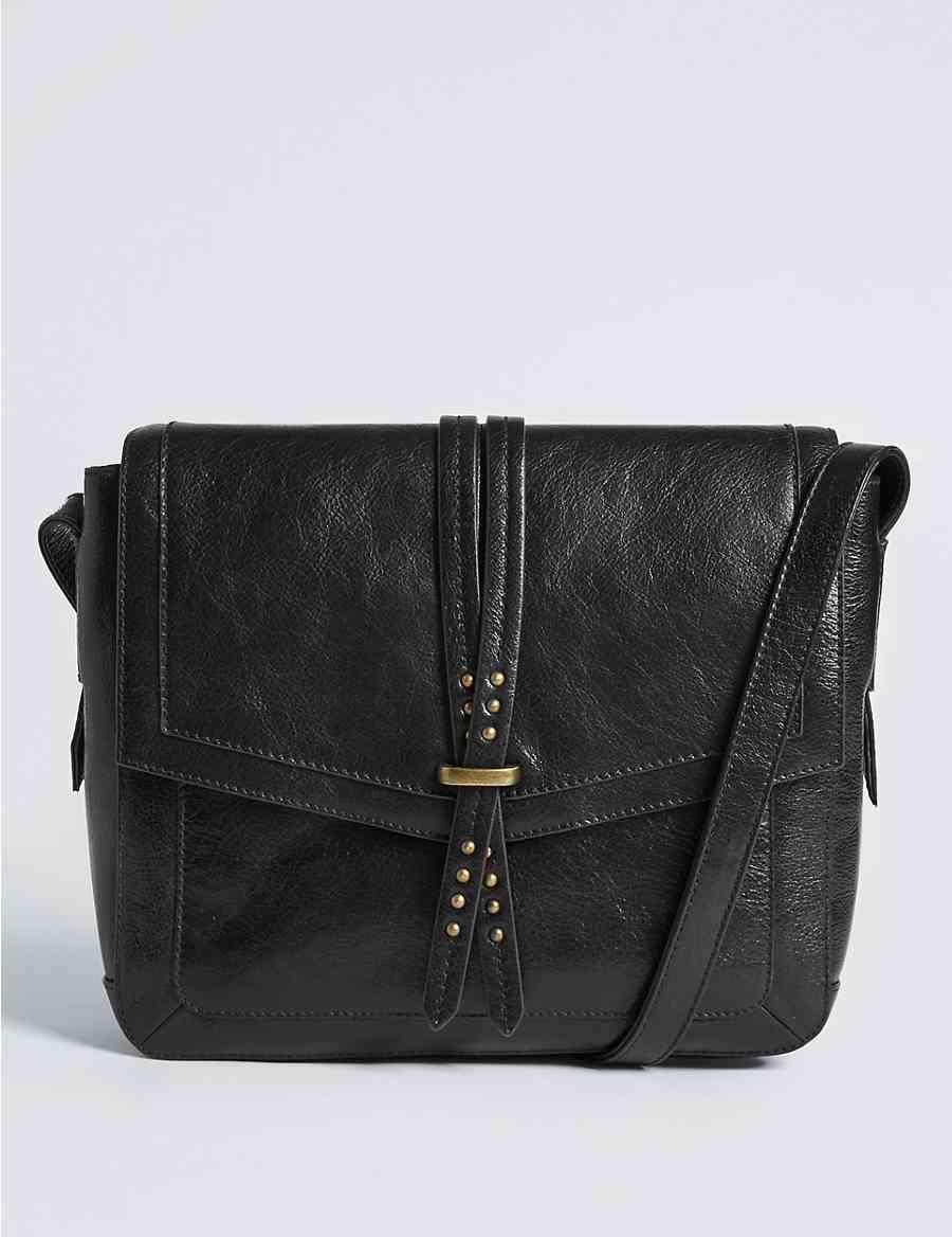 bc9374eb2f Leather Pin Stud Messenger Bag