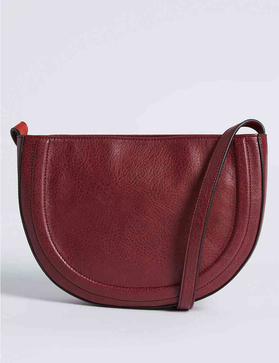 df7616181d Faux Leather Half Moon Cross Body Bag