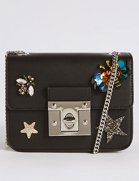 Faux Leather Embellished Cross Body Bag