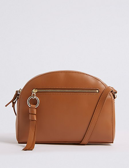 Leather Crescent Cross Body Bag