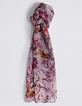 Pure Silk Bird Print Scarf