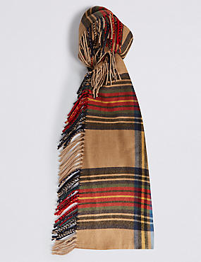 Checked Side Fringe Scarf