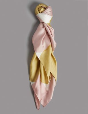 Pure Silk Spotted Scarf by Marks & Spencer