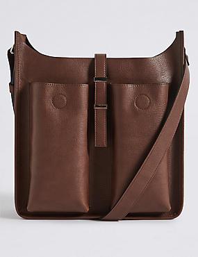 Faux Leather Metal Tab Messenger Bag
