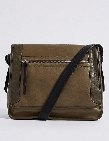Faux Leather Colour Block Cross Body Bag