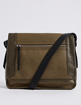 Faux Leather Colour Block Cross Body Bag