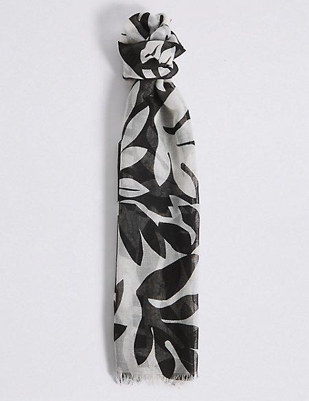 Shadow Leaf Print Scarf