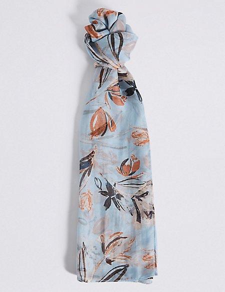 Pure Silk Floral Print Scarf