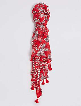 Floral Print Tassel Scarf