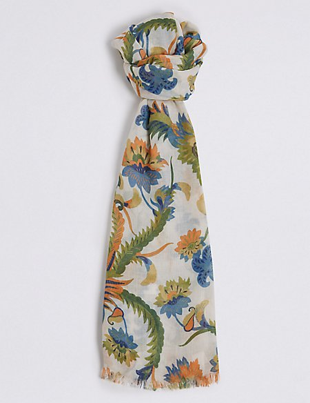 Floral Print Paisley Scarf
