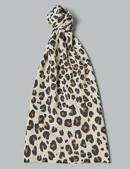 Pure Cashmere Animal Print Scarf
