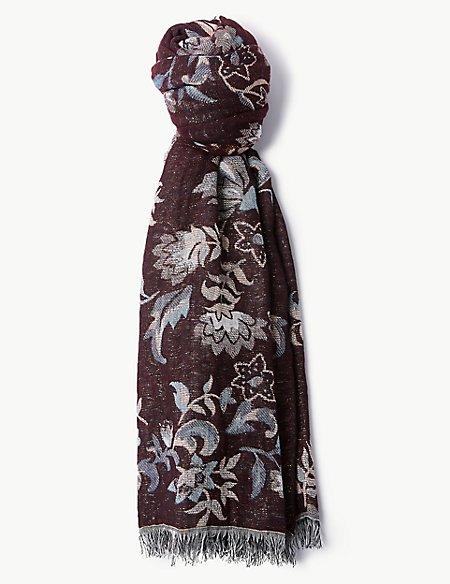 Cotton Rich Floral Print Scarf