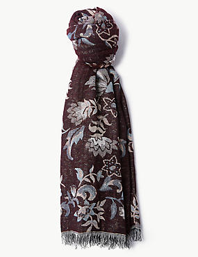 Cotton Rich Floral Print Scarf