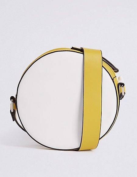 Faux Leather Circle Cross Body Bag