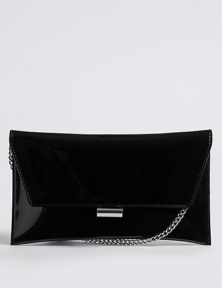 Faux Leather Fold Over Clutch Bag